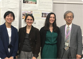 Peng-Heng Chen from Taiwan, Liza Vaneyan from Russia, myself, and Toshio Hayashi, my tutor, in front of a poster and video presentation on my research.